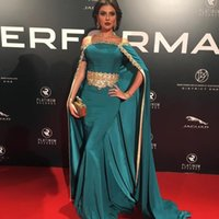 Wholesale evening dress shawls - Prom Dress with Shawl New Fashion Arabic Cape Gold Beads Evening Gowns Boat Neck Lace Embroidery Evening Dress