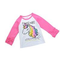 блузка с длинными рукавами оптовых-Весна девочки с длинным рукавом розовый единорог футболка дети девушка мода оборками блузка малыша Одежда