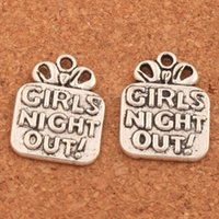 Wholesale night earrings - 100pcs lot Gift Girls Night Out Charm Beads 16.6x21.6mm Tibetan Silver Pendants Fashion Jewelry DIY Fit Bracelets Necklace Earrings L322