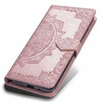iphone çiçek cüzdanları toptan satış-Redmi için 6A 6 Pro Künye Çiçek Cüzdan Deri Kılıflar Iphone XR XS MAX 8 7 6 Galaxy S10 Lite Not 9 S9 Huawei P30 Pro Yuvası Dantel Kapak