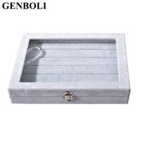 Wholesale Glass Ring Display Case - GENBOLI Portable Grey Velvet Glass Ring Case Jewelry Box Rings Display Show Casket Holder Stand Packaging