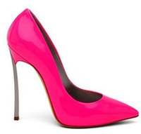 sıcak pembe pompalar topuklu toptan satış-Marka Ayakkabı Kadın Yüksek Topuklu Kadın Pompaları Stiletto Ince Topuk bayan Ayakkabıları Sıcak Pembe Sivri Burun Yüksek Topuklu Düğün Ayakkabı boyutu 42