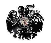 Wholesale walking dead vinyl - Handmade Walking Dead Theme Wall Décor Vinyl Clock(Size:12inch Color:Black)