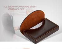 kahverengi antika cüzdanlar toptan satış-High-end erkekler kart sahipleri kılıfları siyah kahverengi kredi iş kartları cüzdanlar cüzdanlar kadınlar için sıcak moda tasarımcısı lady yeni varış hediye kutusu