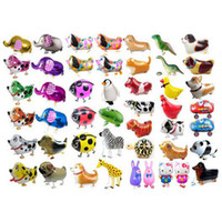 animales de cumpleaños al por mayor-Caminar Mascota Animal Helio Papel de Aluminio Globo Sellado Automático Niños Baloon Juguetes Regalo Para Navidad Boda Suministros Fiesta de Cumpleaños