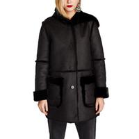 черная куртка оптовых-Wholesale-2017 winter jacket women casual faux fur coat black womens clothing long sleeve shearling coat women hoodeds jacket