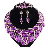 mor takılar setleri toptan satış-Yeni Moda Mor Rhinestones Kristal Bildirimi Kolye Gelin Takı Setleri Dekorasyon Kolye Mücevherat Hediyeler Kadınlar için
