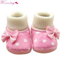ingrosso stivali da principessa-Cute Dot Neonato Bambina Bowknot Fleece Snow Boots Booties White Princess Shoes