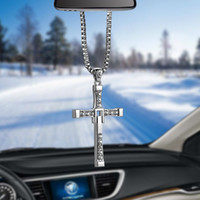 Wholesale crosses hang car - Crystal Metal Christian Cross Automobile Car Rearview Mirror Decoration Hanging Ornament Auto Interior Decor Pendant Car Cross