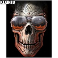 Wholesale Ghost Painting - KEXINZU Diy Diamond Painting Ghost Terror Skull Glasses 5D Cross Stitch Crystal Square Dill Full Diy Diamond Embroidery Resin Home Decor