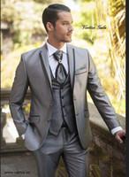 ingrosso su misura suiting-New 2017 Bespoke Suit Smoking dello sposo d'argento Groomsmen Best Man Tute Silm Fit Uomo Matrimonio / Affari / Abiti da sposo Giacca + Pant + Vest
