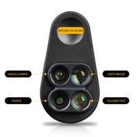 объектив микроскопа для камеры оптовых-Универсальный 4 в 1 широкий угол макро рыбий глаз телефон Lensese камеры мобильного телефона линзы для смартфонов микроскоп