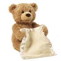 Discount baby brown bears - Electronic Bear Stuffed Plush Animal Interactive Play Ear Move Hide&Seek Peek a Boo game Baby Animate Bear plush toy Music Sing Song