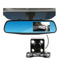 Wholesale rear vision mirror reverse camera - 2PCS wholesale price 1080HD night vision camera dual lens rear view mirror camera reversing car digital recorder car DVR