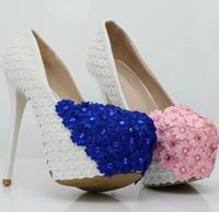 tacones flor grande al por mayor-Zapatos de mujer de moda blanco Lace fishnet crystal FLOWER 14cm Zapatos de tacón alto Zapatos de boda impermeables Fine Talla grande 34-41