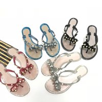 Wholesale blue jelly sandals - LOGO 2018 New Fashion Women Slides Famous Rivet Bowknot Flat Sandals Brand Beach Designer Jelly Slippers Flip Flops Sandalias