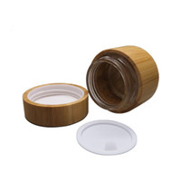 Wholesale bamboo cosmetic packaging - 30g 50g Glass Jar with bamboo outer Empty Cream Jars Cosmetic Packaging Containers Pot With Lid For Hand cream Container F319