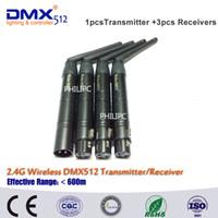 Wholesale dmx transmitter receiver - DHL Free Shipping 4pcs lot Wholesale XLR Wireless dmx512, Wireless dmx512 3PIN wireless dmx Transmitter and receiver