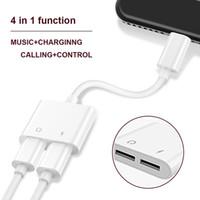 adaptador de música para iphone al por mayor-2 en 1 se dobla para el cable de los conectores del adaptador del cargador de audio para auriculares para 7 8 X Plus de carga de música 30pcs