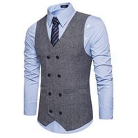 Wholesale mens double vests - Brown Double Breasted Vest Suit Mens Vests Striped Slim Fit Waistcoat British Vintage Blazer Sleeveless Jacket S-XXL