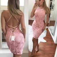 Wholesale chinese picture art - Chinese Sheath Short Pink Lace Cocktail Party Dresses 2018 Sexy Halter Criss-cross Backless Mini Prom Evening Dress