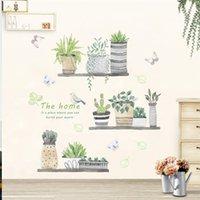 ingrosso decorazione farfalle giardino-3d giardino pianta fiore farfalla adesivi murali vivaio soggiorno camera da letto negozio finestra home decor fiore muro decalcomania poster art