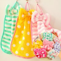 Wholesale Bar Towels - Lovable bow tie bar stripe wipes Water absorbent kitchens and soft coral towel wash towels hand towel T4H0261