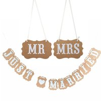 ingrosso appena sposato sposi di nozze-vintage MR / MRS Just Married matrimonio foto puntelli san valentino matrimonio ghirlanda di nozze / Wedding Chair banner photobooth