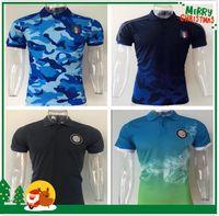 Wholesale Italy Trains - 2017 Inter Mens Soccer POLO shirt T-Shirts Italy Training 17 18 ICARDI CANDREVA Mens Short SLeeve football Polo Shirts