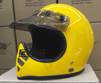 ingrosso yellow retro motorcycle helmet-Casco moto Marca Mokala speed Thompson Yellow Cruise Spirit Rider Retro Motocross Casco Visiera full face estiva