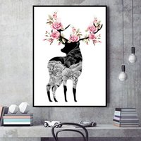 Wholesale Interior Wall Paintings Pictures - Fashion simple Nordic home decor blooming stags interior art wall frame painting canvas print
