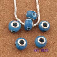 Wholesale Blue Evil Eye Charm - 60pcs lot Sky Blue Lampwork Murano Glass Evil Eye Big Hole Beads Fit Charm Bracelet Jewelry DIY L1666