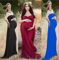ingrosso colpo da doccia-Baby Shower Dress Maternity Gown Photography Puntelli Abito premaman per servizio fotografico Abiti gravidanza
