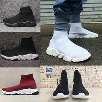ingrosso stivali a maglia maglia-Balenciaga Sock shoes Luxury Brand Stretch-Knit High Top Trainer Scarpe Cheap Sneaker Nero Bianco Donna Uomo Coppie Scarpe Casual Stivali senza scatola