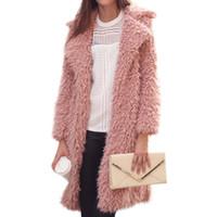 yünlü yaylı mantolar toptan satış-2018 Yeni Tüylü Shaggy Uzun Coat Kadınlar Yaka Faux Kuzu Yün Kıvırcık Kürk Ceket Giyim Kış Bahar Sıcak Moda Palto Casaco