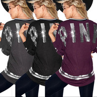 Wholesale Wholesale Pink Long Sleeve Shirts - Women's T shirt Fashion Pink Letter Printed Long-sleeve Sequin embroidery Hip hop T-shirts VS Casual Tops Tee 3colors 4sizes hot