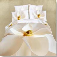 Wholesale 3d Oil Painting Bedding 4pcs - High quality flower 3D Oil Painting Bedding set 4pcs Bedsheets 100%cotton Duvet cover set luxury bed linen sets Queen size