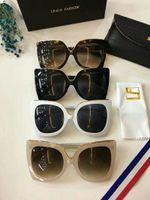 Wholesale Linda Farrow - Linda Farrow LFL N21 Black Oversized Sunglasses Black Gold Grey Lenes Lady Designer Sunglasses Brand New with Box