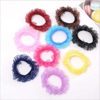 anéis de cabelo flor menina venda por atacado-600 pcs mini malha arco anel de cabelo corda meninas do bebê pequeno círculo de cabelo de impressão crianças acessórios para o cabelo pequeno elástico hairband