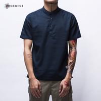 camisas de moda juvenil para hombre al por mayor-Camisa de manga corta para hombre Straight Casual Pure Color Chinese Style Blusa Thin Linen T-shirt Summer Youth Fashion