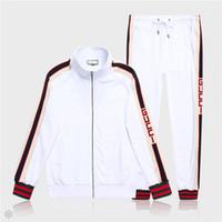 Wholesale standing collar coat pant online - Mens Jackets and Pants Solid Color Sport Sweatshirt Brand Designer Autumn Zipper Coat and Casual Long Pants M XL