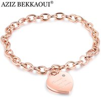 Wholesale turquoise rose pendant for sale - Group buy AZIZ BEKKAOUI Rose Gold Personalized Name Crystal Heart Pendant Bracelets Stainless Steel Bracelets For Women Romantic Gift