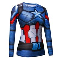 Wholesale female captain america cosplay for sale - Black Panther Compression Shirt d Printed T Shirts Women Captain America Slim Long Sleeve Tops Female Cosplay Fitness Costumes