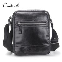 Wholesale leather bags collection - CONTACT'S New Collection 2017 Fashion Men Bags Genuine Leather Messenger Bag High Quality Man Brand Business Bag Men's Handbag