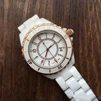 Wholesale Ladies Rose Gold Chronograph Watch - 2018 Luxury Brand Lady White Black Rose Gold Ceramic Watches High Quality Quartz Wristwatches For Women Fashion Exquisite Women Watches