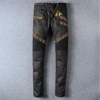 alas de bicicleta al por mayor-pantalones vaqueros de bicicleta robin Manual de cristal de pasta de oro negro robin jeans pantalones de cremallera de crimen de moda de los hombres