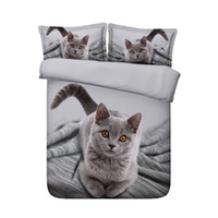 Wholesale cat comforter sets - cozy cute cat print bedding set queen twin king size gift for family 3d comforter cover adult bedclothe brief room decor textile