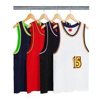 camisas sin mangas chaleco al por mayor-18SS Box Logo Bolt Basketball Jersey Chaleco Camiseta Hombres de lujo Mujeres Street Sport al aire libre sin mangas Casual Summer Cool Tee Chaleco HFYMTX353