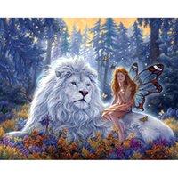 löwe malerei wohnkultur großhandel-40 * 30 cm Lion Beauty100% Voll 5D Diamant Malerei Kit Decoración Del Hog Wohnkultur Wandkunst Platz Diamant Bastelbedarf