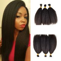 mejores productos para el cabello negro al por mayor-Productos más vendidos Kinky Straight 3bundles Cabello a granel para mujeres negras 8-26 pulgadas Cabello humano negro natural FDSHINE HAIR